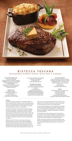 this amazing for Bistecca Toscana with Mac and Cheese.Enjoy this amazing for Bistecca Toscana with Mac and Cheese. Gourmet Recipes, Beef Recipes, Cooking Recipes, Gourmet Desserts, Steaks, Gourmet Food Plating, Food Plating Techniques, Good Food, Yummy Food