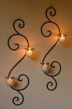 Metal Wall Decor With Candles Wall Mounted Long Holder Using Wrought Iron Candle Holders As Wall Mounted Candle Holders, Wrought Iron Candle Holders, Candle Sconces, Wrought Iron Decor, Iron Furniture, Candle Stand, Metal Wall Decor, Metal Walls, Cheap Home Decor