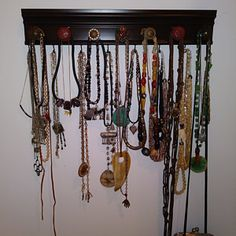 Jewelry organizer CHOOSE 7 or 9 KNOBS. Necklace holder rack with clear and silver knobs wall hung jewelry storage closet or decor gift Jewelry Organizer Stand, Jewelry Holder, Jewelry Organization, Kitchen Organization, Jewelry Wall, Keep Jewelry, Diy Jewelry, Jewelery, Jewellery Storage