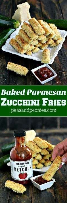 Baked Parmesan Zucchini Fries - Peas and Peonies #sponsored