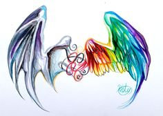 Wings Tattoo :D by Lucky978 on deviantART#design #rainbow #color #illustration #sparkle #cool #awesome #painting #fantasy #neat #painted #sky #watercolor #water #wings #black #skeleton #feather