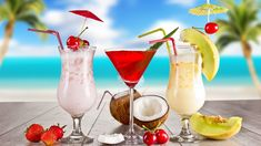 tropical drinks | Tropical Cocktail Beach Drink | High Quality Wallpaper Images 1080p ...