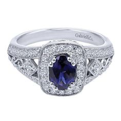 14k White Gold Diamond  And Sapphire Fashion Ladies' Ring | Gabriel