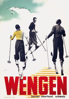 vintage ski poster - Wengen - Hans Thoni 1930's                                                                                                                                                                                 Mehr