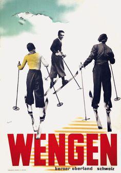 vintage ski poster - Wengen - Hans Thoni 1930's