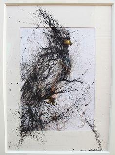 """Ominous Goshawk - 不祥的墨破苍鹰"" Hua Tunan Ink on paper 2013"