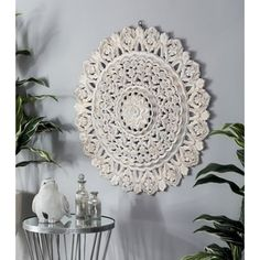 Give your space a softer essence with the DecMode Round Floral Inspired Carved Pine Wood Wall Panel . The ornate floral design is composed with a multi-layered. Pine Walls, Wood Panel Walls, Wooden Walls, Metal Walls, Carved Wood Wall Art, Metal Wall Decor, Wall Art Decor, Room Decor, Traditional Wall Decor