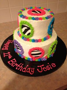 Girls Birthday cake #neon #zebra this suits Kara Beth, if only the zebra print was peace signs