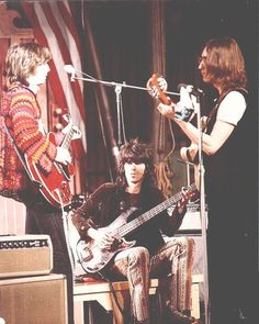 """Eric Clapton, Keith Richards and John Lennon at The Rolling Stones Rock and Roll Circus"""" 1968."""