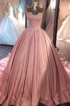 Pink Sweetheart Lace Long Ball Gown Prom Dress Long Prom Dresses, #promdresses #longpromdresses #dresses #sexyopromdresses