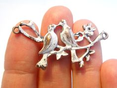 You will receive 4 Antique Copper Love Birds On Branch Charm Connectors  Approx:4.3cm x2.3cm Hole size: 1.7mm Thickness: 3.4mm  Zinc Metal Alloy Lead and Nickel Safe