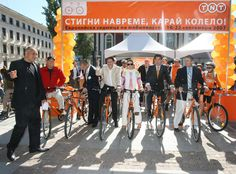 A memorable picture from a event organised by M3 Communications Group, Inc. for our big and important client - TNT in Sofia. We showed Sofia citizens that biking is very useful and environmental and the event was joined by the then Minister of European Affairs Gergana Passy, Sofia Mayor Boyko Borissov and many other dignitaries. Turning 20, Event Organization, Biking, Affair, How To Memorize Things, Street View, Group, Pictures, Photos