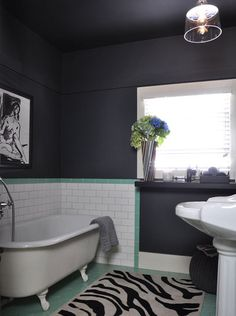 charcoal/aqua bathroom