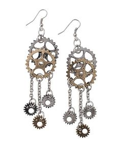 Steampunk Gear Earrings - Spirithalloween.com