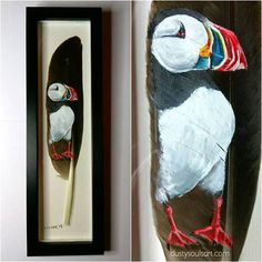 Check out this item in my Etsy shop https://www.etsy.com/uk/listing/583963619/puffin-feather-painting-handpainted #featherpainting #paintedfeather #puffin