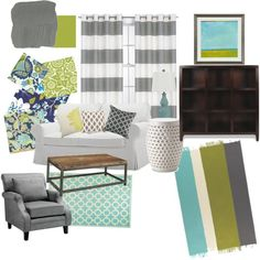 my living room mood board. lime, teal, white, & dark natural woods. find it at http://www.summitstreetjoy.com/2012/04/living-room-mood-board.html