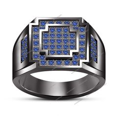 Round Cut Blue Sapphire 0.50 Carat 14K Black Gold Finish Men's Ring Size 7 To 14 #aonedesigns #MensEngagementRing