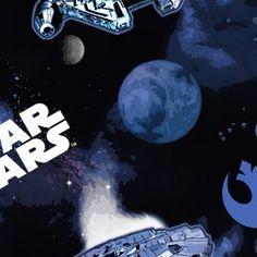 Camelot Fabrics - Star Wars III - The Millennium Falcon Star Wars Quilt, Star Wars Fabric, Fabric Stars, Star Wars Bedroom, Win Online, Millenium Falcon, Fabulous Fabrics, Star Wars Episodes, Over The Rainbow