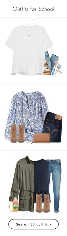 """""""Outfits for School"""" by molly5936 ❤ liked on Polyvore featuring American Eagle Outfitters, Victoria, Victoria Beckham, Kendra Scott, Steve Madden, Michael Kors, Rebecca Taylor, Hollister Co., Tory Burch, Kate Spade and Current/Elliott"""