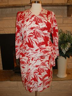 Red White Dress with Sarong Hawaiin Pattern Vtg Thompson California 50 Chest XL #Camellia