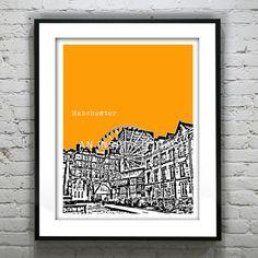 Manchester England Poster Art Print UK United Kingdom 8 X 10 on Etsy, $19.00
