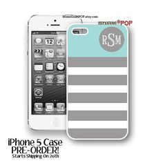 Iphone 5 Case  Monogrammed iPhone 5 Case Gray by MonogramPOP, $20.00