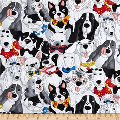 Timeless Treasures Packed Dogs White from @fabricdotcom  From Timeless Treasures, this cotton print is perfect for quilting, apparel and home decor accents.  Colors include white, black, grey, yellow, red, pink and blue.