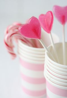 Adorable little pink heart Valentine's Day Lollipops.