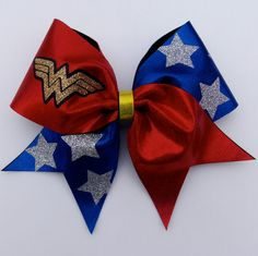 Wonder+Woman+Cheer+Bow+by+cheerbowsandarrows+on+Etsy,+$15.00