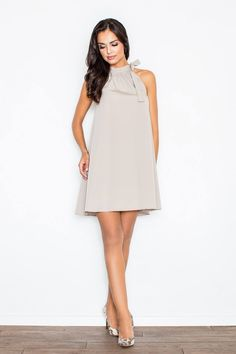 Looking for Mini Dresses? Call off the search with our Grey A Line Dress With Mandarin Collar. Shop unique fashion at SilkFred Shift Dresses, Inverted Triangle Outfits, Grey Tie, Feminine Dress, Sweet Dress, Mandarin Collar, Unique Fashion, Casual Wear, Blue Dresses