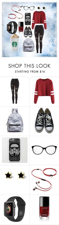 """Untitled #42"" by pizza-olives-onions ❤ liked on Polyvore featuring Topshop, Street Level, Converse, Verbatim and Chanel"