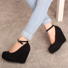 US SHIP black womens dress suede wedge buckle strappy platform ...
