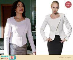Jessica's white asymmetric jacket on Suits.  Outfit Details: http://wornontv.net/33825/ #Suits