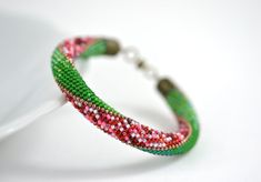 SIMPLY BEAUTIFUL Classic Bead Crochet Bracelet.  Find your paradise.  Cheerful green & red Strawberry bracelet is the perfect gift or accessory for a