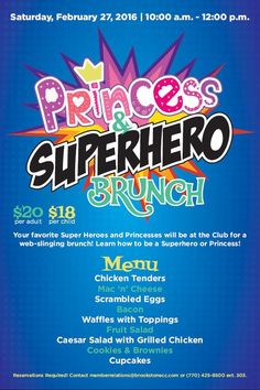 princess breakfast party flyer poster template princess