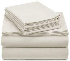 Deep Pocket Flannel Sheets Queen 4 Pc Set Flat Sheet Fitted 2 Pillowcases Cream #Pinzon