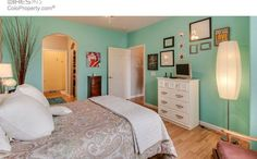 Tiffany Blue for the win in the master bedroom. #stencils #beachcolors #brightbedroom #bedroom #simplychicdesigns #wallcollage