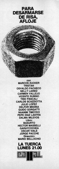 Publicidad del programa cómico LA TUERCA, Canal 11, Buenos Aires, 1981.