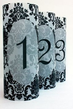 Damask Luminary Table Numbers set of 30, Wedding Table Numbers, Damask Wedding