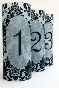 Damask Luminary Table Numbers set of 30, Wedding Table Numbers, Damask Wedding