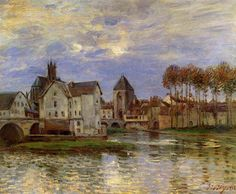 ALFRED SISLEY - The Moret Bridge at Sunset (1892)