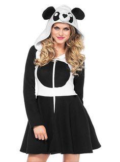 Panda Hoodie Dress   maskworld.com #karneval #fasching #schwarz #weiß #panda #süss