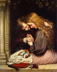 "Painting of the Day! Charles West Cope (1811-1890) ""The Thorn"" Oil on canvas, 1866. To see more works by this artist please visit us at: http://www.artrenewal.org/pages/artist.php?artistid=711"