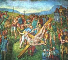 The Crucifixion of St. Peter is a fresco painting by the Italian Renaissance master Michelangelo Buonarroti (c. It is housed in the Cappella Paolina, Vatican Palace, in the Vatican City, Rome. It is the last fresco executed by Michelangelo. Caravaggio, Renaissance Kunst, High Renaissance, Michelangelo Paintings, Andrea Mantegna, Most Famous Paintings, Oil Painting Reproductions, Religious Art, Catholic Art