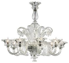 La Scala 8 Light Clear Murano Style Glass Chandelier traditional chandeliers