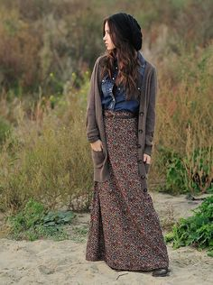 Maxi skirt in the winter - paired with chambray shirt, oversized cardigan, beanie, and boots.