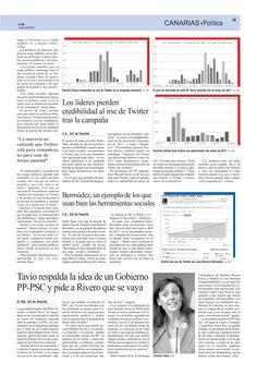 """Artículo """"Twitter demuestra que los políticos no escuchan al ciudadano"""" Pag. 19 del periódico El Día del 9 de Abril de 2012. @pedrobaezdiaz"""