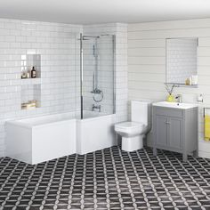 would need to buy Taos and shower - Melbourne Right Hand Shower Bath, Earl Grey Vanity Unit & Belfort Toilet Suite Grey Vanity Unit, Vanity Units, Vanity Sink, Bathroom Store, Family Bathroom, L Shaped Bathroom, Shower Suites, Toilet Suites, Bathroom Plans