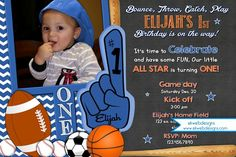 All Star Birthday Invitation for first Birthday - Sports Birthday Invitation for any age