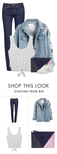 """I'll Get It Back"" by livinglifeincolor ❤ liked on Polyvore featuring Tory Burch, MANGO, Clare V., adidas, Clutch, denimjacket, sneakers and polkadotblouse"